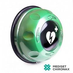 Rotaid Plus Green s alarmem a vyhříváním - nástěnný venkovní box pro defibrilátor Primedic AED HeartSave