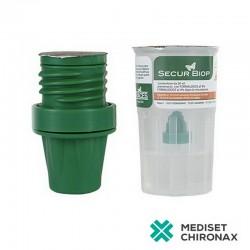 SECURBIOP 10ml+10ml NaCl - kontejner pro bioptické vzorky - předplněná nádoba 10% NBF a NaCl - balení 10 ks
