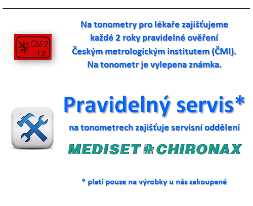 Pravidelný servis na tonometry a ověření ČMI